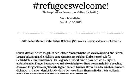 #refugeeswelcome! Ein Inspirationsfaden zum Helfen (in Berlin).